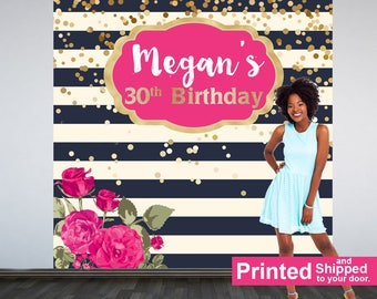 Birthday Fuchsia Personalized Photo Backdrop, Milestone Photo Backdrop, 30th Birthday, Floral Birthday Backdrop, Navy and Gold Stripes