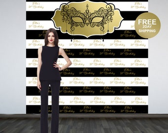 Masquerade Elegance Personalized Photo Backdrop | Mask Photo Backdrop | 21st Birthday Step and Repeat Backdrop | Printed Photo Backdrop