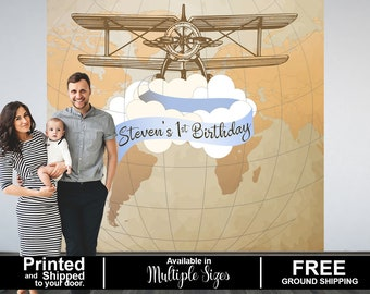 Vintage Airplane Party Personalized Photo Backdrop, 1st Birthday Airplane Photo Backdrop, Welcome to this World Photo Backdrop, Printed