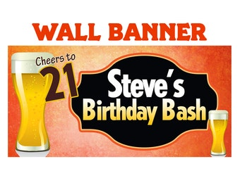 Cheers to 21 Beer Happy Birthday Banner  ~ Happy 21st Birthday Personalized Party Banners, 21st Birthday Banner, Printed Custom Banner