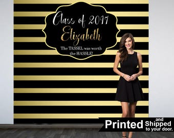 Graduation Photo Backdrop, Personalized Photo Backdrop- Printed Class of 2018 Photo Backdrop- Black and Gold Stripes Photo Backdrop