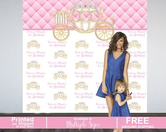 Princess Personalized Photo Backdrop | Royal Birthday Party Photo Backdrop | Step and Repeat Party Photo Backdrop | Pink Princess