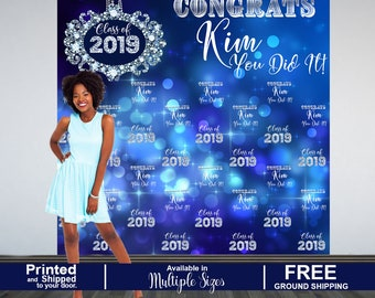 Graduation Photo Backdrop, Personalized Photo Backdrop- Printed Class of 2019 Photo Backdrop- Congrats Grad Photo Backdrop, Diamonds