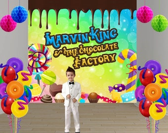 Chocolate Factory Personalized Photo Backdrop -Candy Land Photo Backdrop- Birthday Photo Backdrop, Party Printed Backdrop, Vinyl Backdrop