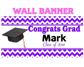 Graduation Purple  Banner ~ Personalize Party Banners Indoor or Outdoor Class of 2014 School Colors