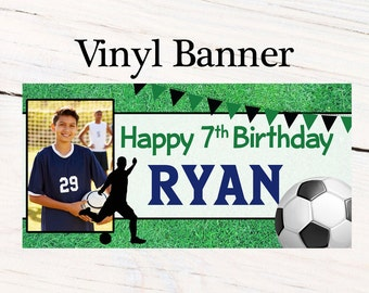 Soccer Striker Party Banner ~ Personalized Birthday Banners - Team Sports Banner - Soccer Team Vinyl Banner, Soccer Ball Banner