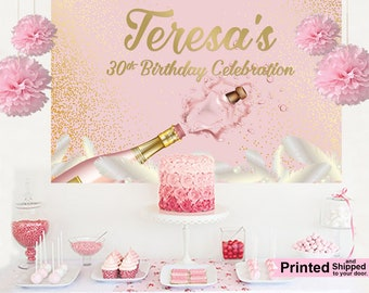30th Birthday Personalized Party Backdrop - Birthday Cake Table Backdrop - Rose All Day Backdrop, Printed Vinyl Backdrop, Birthday Backdrop
