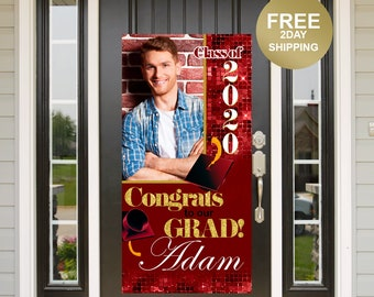 Grad Door Banner | Honk for our Grad Banner | Graduation Door Banner | Class of 2020 Door Banner | Grad Photo Yard Banner | Red and Gold