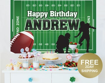 Football Personalized Photo Backdrop, Birthday Cake Table Backdrop, Football Player Party Backdrop, Printed Vinyl Backdrop - Sports Backdrop