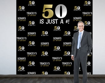50th Birthday Personalized Photo Backdrop -BIG 50 Photo Backdrop- Birthday Photo Backdrop, Step and Repeat Backdrop, Gold and Silver