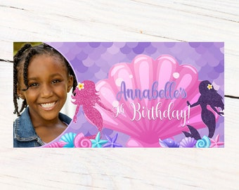 Mermaid Splash Photo Banner ~ Personalized Party Banner ~ Purple Mermaid Birthday Banner, Printed Birthday Banner, Vinyl Birthday Banner