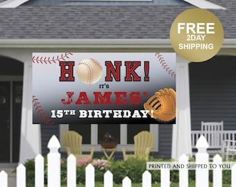 Baseball Birthday Banner | Personalized Birthday Banner | Sports Outdoor Banner | Birthday Banner | Quarantine Birthday Banner, Lawn Banner