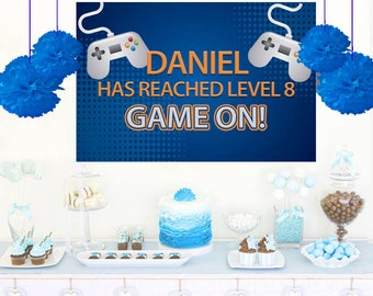 Video Game Personalized Backdrop - Birthday Cake Table Backdrop, Game On Birthday Backdrop, Party Backdrop, Birthday Backdrop, Printed