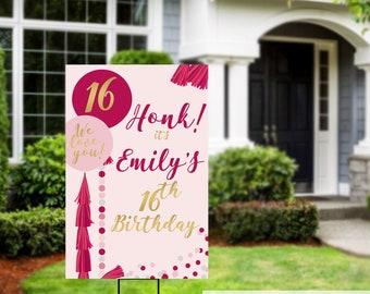 Honk Birthday Yard Sign | Quarantine Birthday | Birthday Yard Sign | Birthday Signs | 16th Birthday Yard Sign | Happy Birthday Lawn Sign