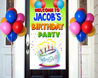 Happy Birthday Door Banner  ~ Personalize Birthday Balloons Party Banner
