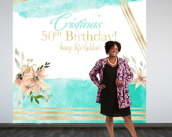 Watercolor Floral Personalized Photo Backdrop -Living Life Golden Photo Backdrop- Custom Photo Backdrop -50th Birthday Photo Backdrop