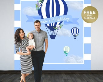 Up up and Away Party Backdrop | Hot Air Balloons Personalized Photo Backdrop | 1st Birthday Backdrop | Blue Hot Air Balloon Backdrop