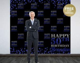 50th Birthday Personalized Photo Backdrop | 40th Birthday Photo Backdrop | Blue Sparkle Photo Backdrop | Step and Repeat Backdrop | Printed