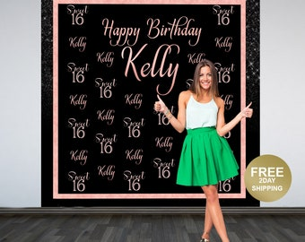 Sweet 16 Photo Backdrop, 16th Birthday Backdrop, Personalized Photo Backdrop, Birthday Backdrop, Printed Vinyl Backdrop, Rose Gold