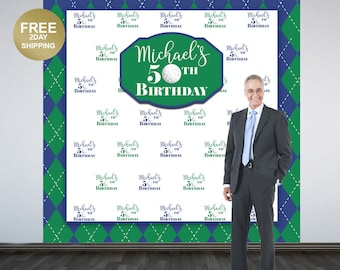 Golf 50th Birthday Photo Backdrop | Retirement Photo Backdrop | 60th Birthday Photo Backdrop | Step and Reapet Backdrop | Party Backdrop