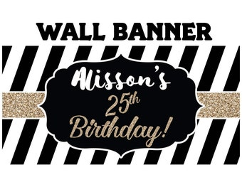 Elegant Birthday Personalized Banner  ~ Black & White Stripes Birthday Personalized Party Banners - Custom Party Banners,