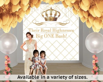 Royal Birthday Party Personalized Photo Backdrop - First Birthday Photo Backdrop- Gold Crown Photo Backdrop - Big One Bash