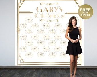 Great Gatsby Personalized Photo Backdrop | Roaring 20's Step and Repeat Photo Backdrop | Birthday Photo Backdrop | White & Gold Backdrop