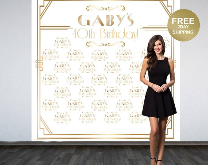 Featured listing image: Great Gatsby Personalized Photo Backdrop | Roaring 20's Step and Repeat Photo Backdrop | Birthday Photo Backdrop | White & Gold Backdrop
