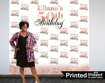 Rose Gold 50th Birthday Personalized Photo Backdrop - Party Photo Backdrop, Printed Vinyl Backdrop, 60th Birthday Photo Booth Backdrop