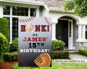 Honk Baseball Yard Sign | Quarantine Birthday | Birthday Yard Sign | Baseball Team Yard Sign | Sports Birthday Sign | Baseball Yard Sign