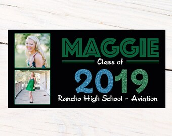 Graduation Class of 2019 Photo Banner ~ Congrats Grad Personalized Party Banner - School Colors Graduation Large Banner- Grad Banner