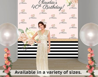 Birthday Bloom Party Personalized Photo Backdrop -Rose Pink Photo Backdrop- 40th Birthday Large Photo Backdrop, Custom Backdrop, Printed