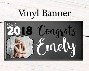 Graduation Photo Banner ~ Personalized Grad Party Banner- Class of 2018 Chalkboard, Graduation Banner, Printed Banner, Congrats Banner