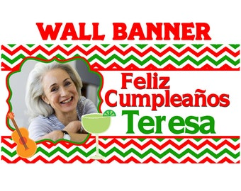 Fiesta Time Party Banner ~ Personalize Party Banners - Mexican Fiesta Birthday Banner - Fiesta Banner - Printed Banner - 30th Birthday