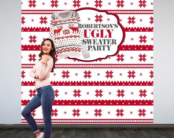 UGLY Sweater Party Personalized Photo Backdrop - Christmas Photo Backdrop- Holiday Party Photo Backdrop, Ugly Sweater Holiday Party Backdrop