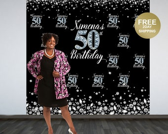 50th Birthday Personalized Photo Backdrop | Diamond Backdrop | 40th Birthday Photo Backdrop |  Printed Photo Backdrop | Birthday Backdrop