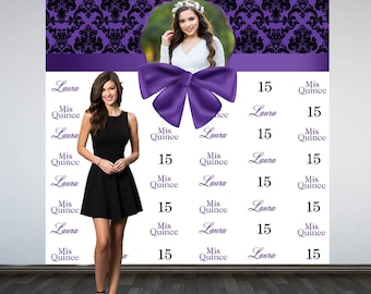 Mis Quince Personalized Photo Backdrop, Purple Photo Backdrop- 15th Birthday Photo Backdrop, Printed Photo Booth Backdrop, Vinyl Backdrop