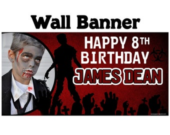 Happy Birthday Banner  ~ Zombie Photo Birthday Personalize Party Banners - Zombies Party Banner, Zombie Halloween Banner, Halloween Party