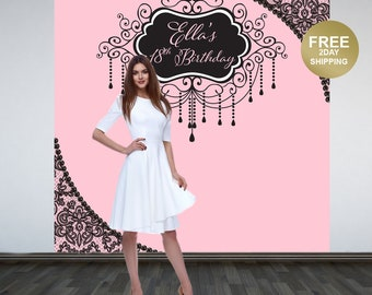 Pink Secret Personalized Photo Backdrop | Vintage Glam Backdrop | 18th Birthday Photo Backdrop | Printed Photo Backdrop | Birthday Backdrop