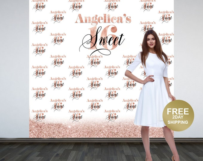 Featured listing image: Sweet 16 Personalized Photo Backdrop -Rose Gold Photo Backdrop- 16th Birthday Photo Backdrop - Printed Photo Booth Backdrop, Vinyl Backdrop