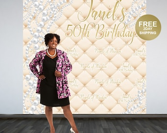 Pearls of Wisdom Backdrop | Pearls Step & Repeat Backdrop | Birthday Backdrop | 50th Birthday Photo Backdrop | Printed Photo Backdrop
