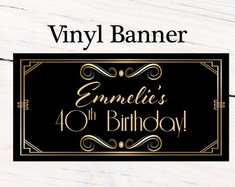 Great Gatsby Birthday Banner  ~ Retro Birthday Personalized Party Banners - Happy Birthday Banner, Art Deco Personalized Party Banner