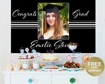 Graduation Elegancce Photo Personalize Backdrop |  Congrats Grad Cake Table Backdrop | Class of 2019 Photo Backdrop | Graduation Backdrop