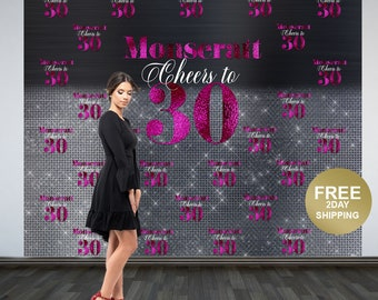 Cheers to 30 Personalized Photo Backdrop | 30th Birthday Photo Backdrop | Step & Repeat Photo Backdrop, Birthday Backdrop | 40th Birthday