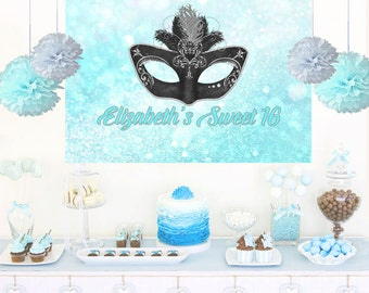 Masquerade Mask Personalized Party Backdrop, Aqua Birthday Cake Table Backdrop, Sweet 16 Photo Backdrop, Printed Backdrop, Birthday Backdrop