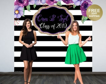 Graduation Personalized Photo Backdrop | Black and White Stripes Photo Backdrop | Class of 2019 Backdrop | Photo Backdrop | Purple Floral