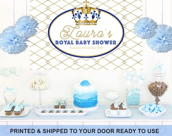 Royal Baby Shower Personalized Photo Backdrop, Baby Shower Cake Table Backdrop, Little Prince First Birthday Photo Backdrop, Prince Backdrop