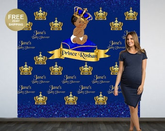 Royal Baby Shower Personalized Photo Backdrop | Royal Prince Photo Backdrop | Step and Repeat Backdrop | Little Prince Printed Backdrop