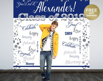 Graduation Photo Backdrop | Congrats Grad Personalized Backdrop | Class of 2019 Photo Backdrop | Photo Booth Backdrop | Printed Backdrop