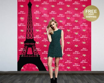Paris Love Birthday Personalized Photo Backdrop | 16th Birthday Photo Backdrop | Photo Booth Backdrop | Custom Backdrop | Step and Repeat
